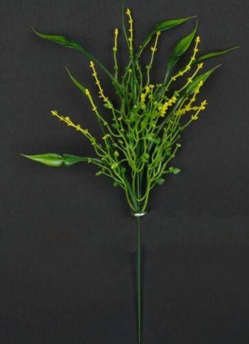 künstliche Blumen-Deko 12 x  Dekostiel  grün//gelb  Dekozweig //Graszweig