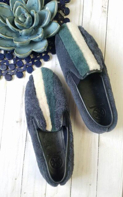 818e18be857 NEW Tory Burch Slip On Bamford Color-Block Shearling Sneakers Sz 9.5 NWOB