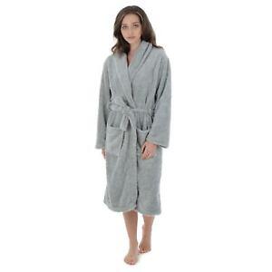 Image is loading Womens-Bathrobe-Fluffy-Warm-Grey-Fleece-Luxury-Dressing- 3b4cea44a