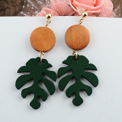Bohemian Style Leaf Dangle Drop Earring Tropical Plant Wood Summer Beach Jewelry