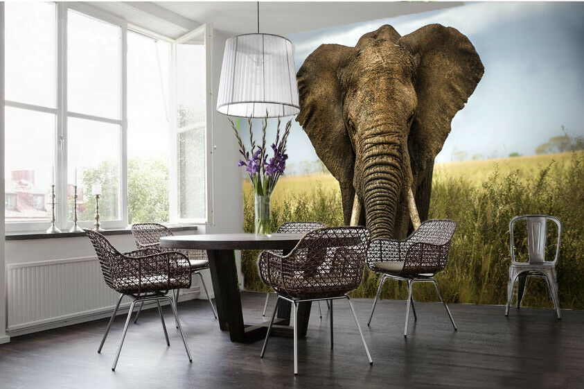 3D Prairie Elephant 56 Wall Paper Wall Print Decal Wall Deco Indoor Wall Murals