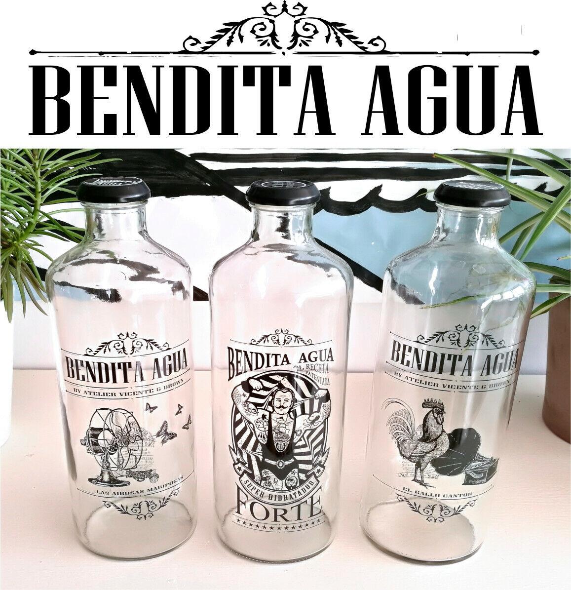 BENDITA AGUA Botellas DE Cristal 1 litro Colección CIRCUS (3 Piezas)