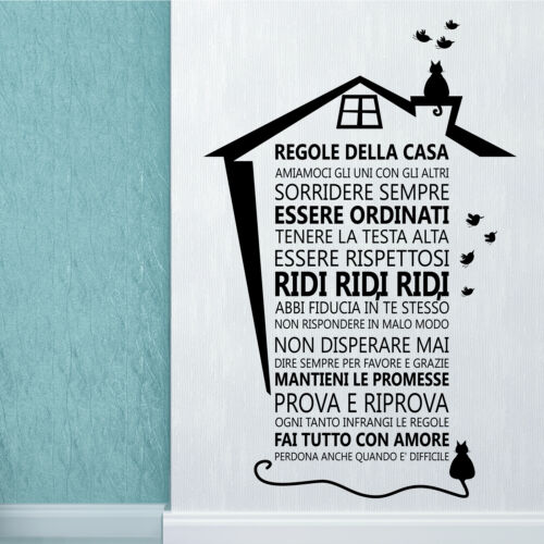Italian Wall Sticker Art Mural Decor CAT HOUSE RULES DIY