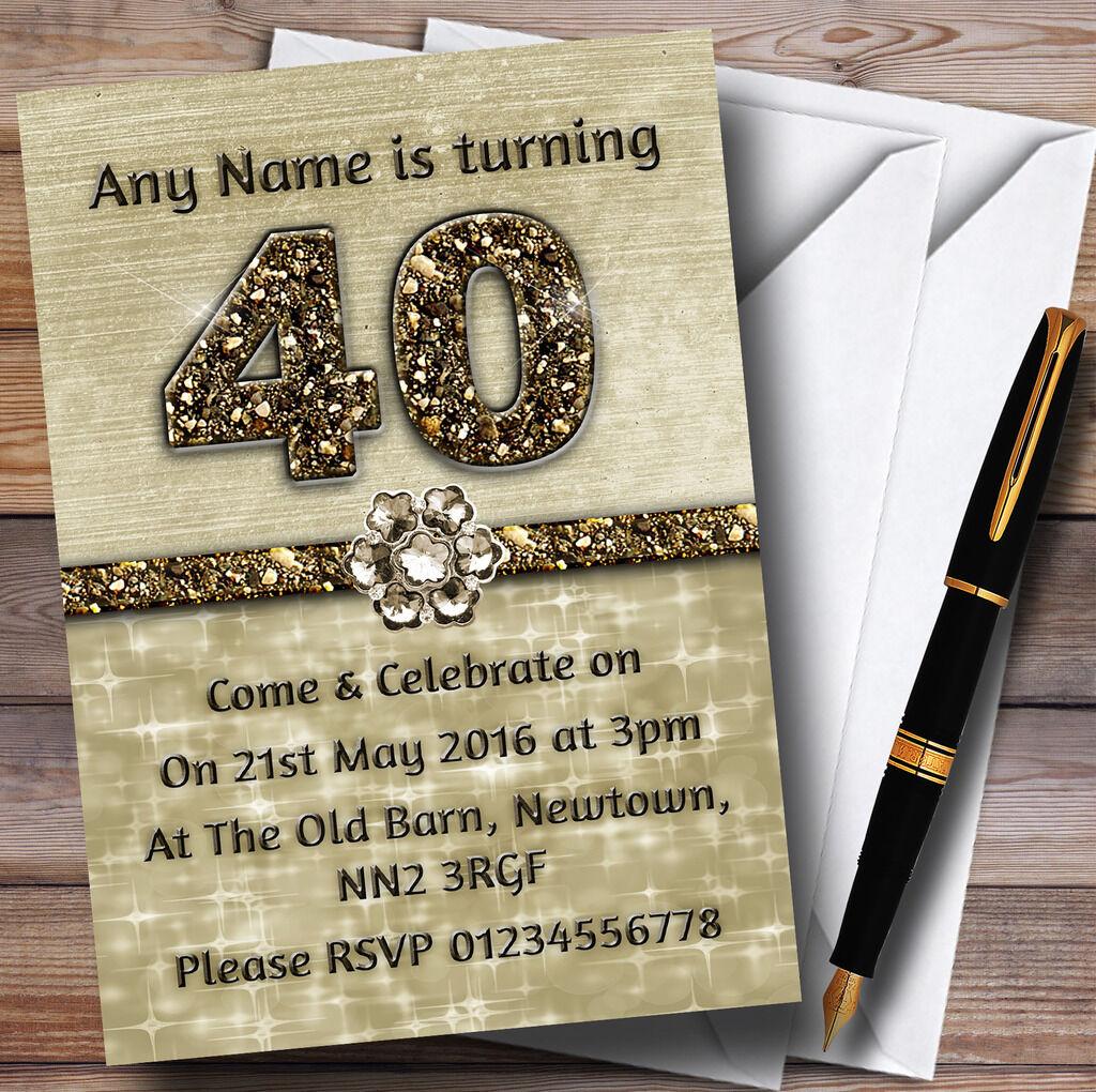 TITANIUM GOLD BRILLANT 40ème Fête D'anniversaire Personnalisé invitations invitations invitations 512807