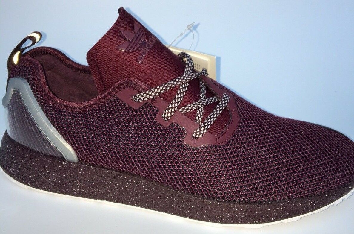 a90952a01 Mens adidas Originals ZX Flux ADV Asymmetrical Trainers in Burgundy ...