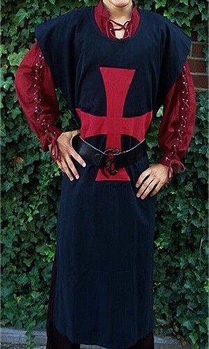 MEDIEVAL Red TEMPLAR Tunic Surcoat Sleeveless Renaissance LARP SCA