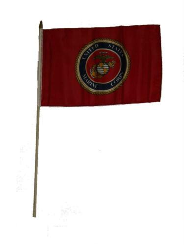 "12x18 12/""x18/""  U.S Marines USMC Marine Corps Red Stick Flag wood staff"