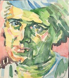 Colourful-Modernist-Portrait-Original-Painting-Woman-039-s-Face-Bright-Vivid-Modern