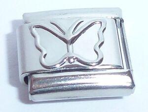 SILVER-BUTTERFLY-Italian-Charm-9mm-fits-Classic-Bracelets-Butterflies-N221
