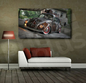 Image Is Loading Vw Beetle Rusted Old Car Canvas Art Poster