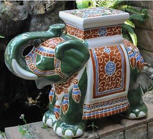 Image Is Loading Porcelain Garden Stool Glazed Ceramic Elephant Plant Stand