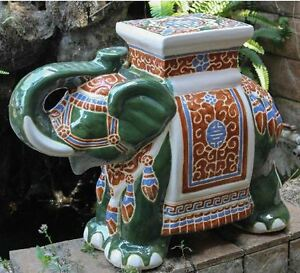 Porcelain Garden Stool Glazed Ceramic Elephant Plant Stand
