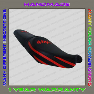 Custom-Black-Red-strips-Seat-Cover-KAWASAKI-ZX-14R-ZZR1400-2012-Second-Gen