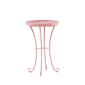 Beistelltisch-rosa-Metall-40-cm-rund-CAVINIA