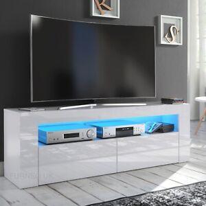 LED Lights Grey 125cm TV Unit Cabinet Stand High Gloss Doors Storage Sideboard
