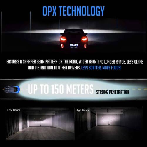 GX7 Pro H11 LED Headlight Bulbs Pair CREE 6500K 6K White Light Kit