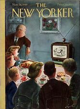1949 New Yorker November 26 - Watching Thanksgiving football on TV during dinner