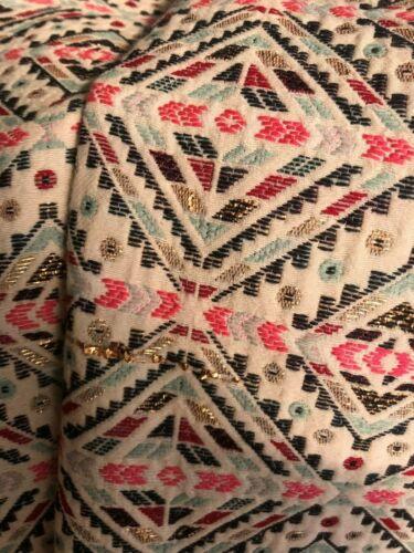 ricamato a V scollo con abito Sz10 Vilagallo Bnwt e a Multicolor maniche senza trapezio 5ZwqIWS