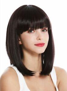 Wig-Women-039-s-Wig-short-Shoulder-Length-Long-Bob-Fringe-Smooth-Dark-Brown-Purple