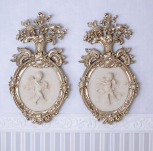 Zwei Alabaster Engel Relief Bilder Set Wandappliken Engelfiguren Silber Wanddeko