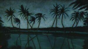 Monogrammiert arabisch ? - Nächtliche Landschaft mit Palmen