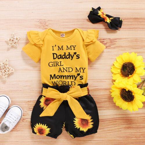 3PCS Newborn Baby Girl Clothes Romper Bodysuit Tops Shorts Headband Outfits Set