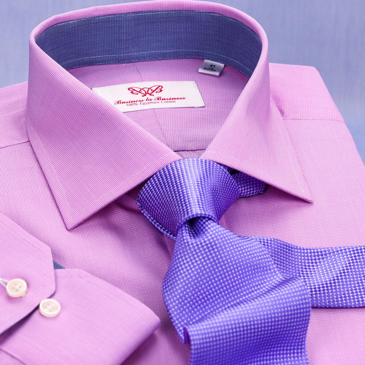 Solid Pink Mens Formal Business Dress Shirt bluee Designer Inner-Lining Fashion