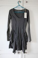 BNWT ALL SAINTS Grey Ruffled Shirt Dress Seams 6 XS Savanna Cotton AllSaints