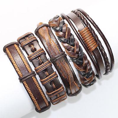 5 pcs NEW Leather Wrap Wristband Cuff Punk Star Bracelet Bangle For Unisex-F17