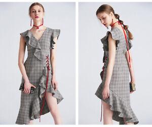 cherrie424: Plaid Ruffled Midi Dress