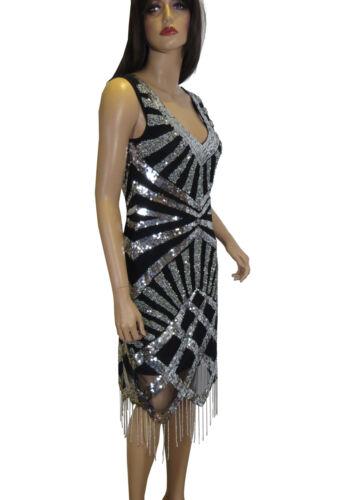 Impreziosito 1920 8 Flaps Taglie Dress Deco Silver Gatsby Frindge To Hem Plus qZFYA6