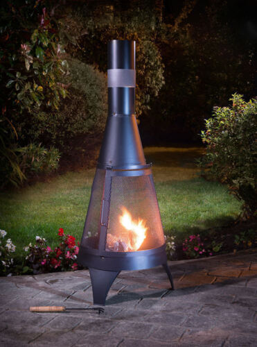 Deluxe Chiminea Garden use Easy assembly Complete With Poker 120x45cm