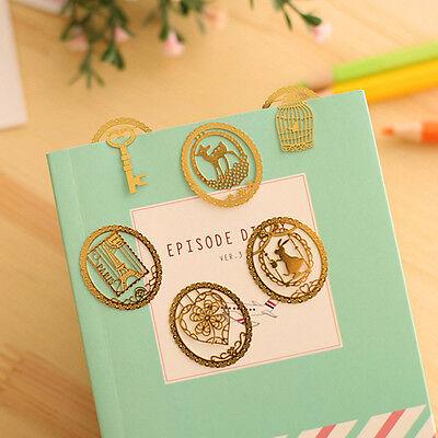 4pcs/set Lace Kawaii Mini Hollow Creative Metal Bookmark Paper Clips Random