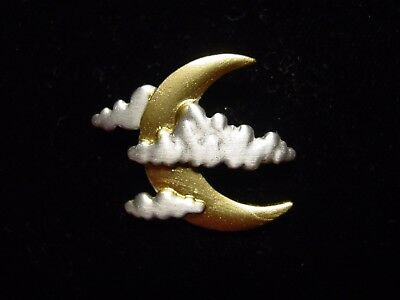 """JJ"" Jonette Jewelry Silver 'Half Moon with Clouds' Tac Pin"
