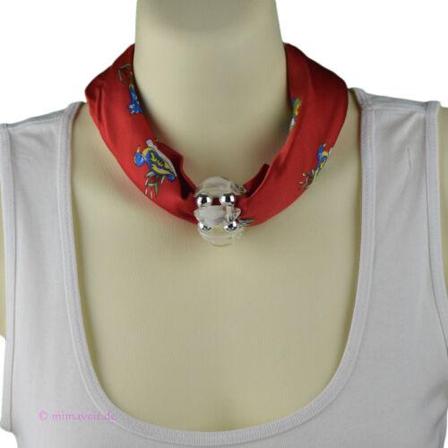 Trachtentuch Halstuch Tuch rot Paar Horn Edelweiß mit Herz Anhänger Schalhalter