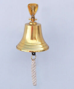 """Solid Brass Hanging Ships Bell 11/"""" Nautical Decor Blue"""