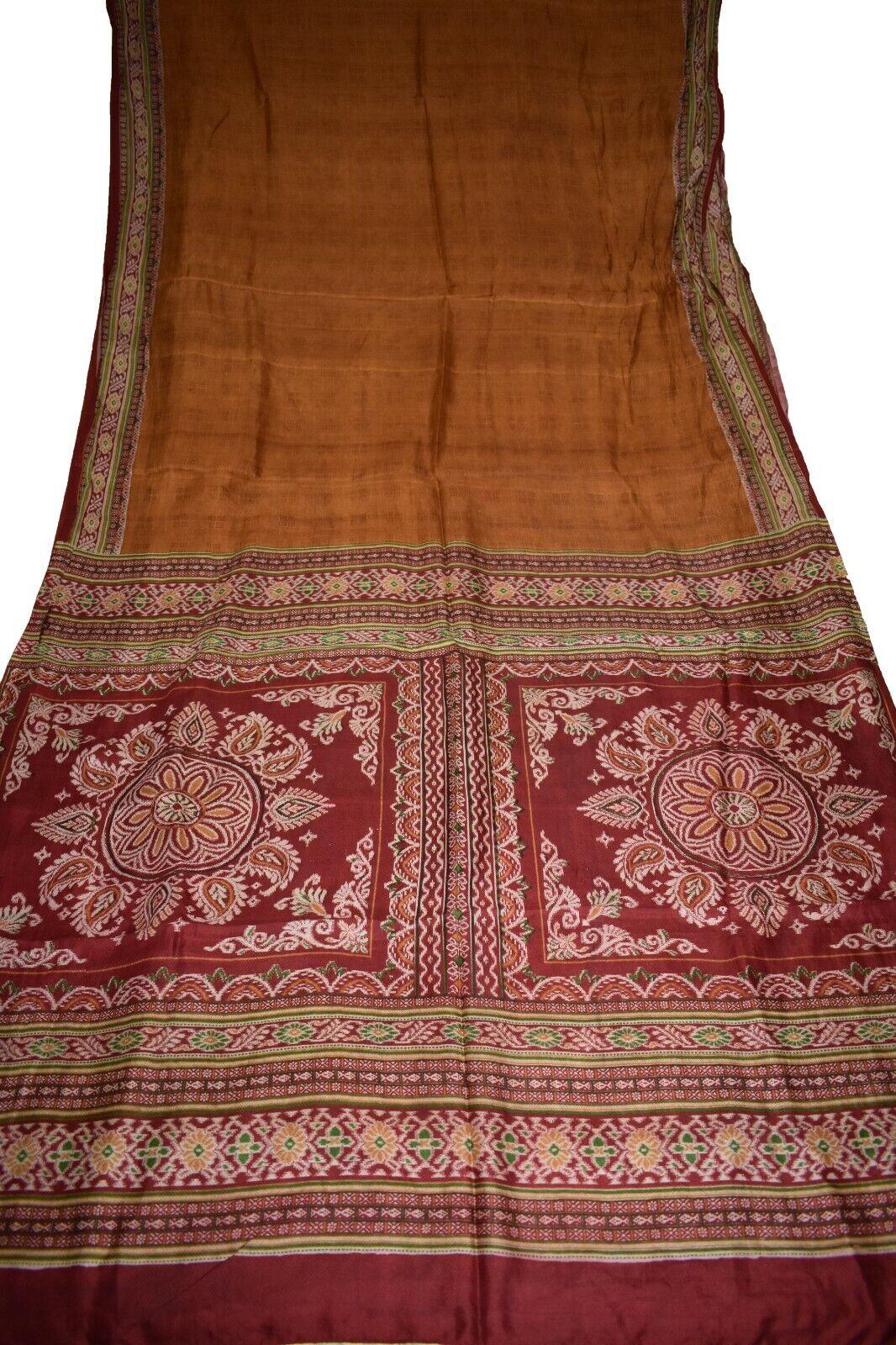 Vintage Printed Sari Brown Pure Silk Abstract Print 5Yrd Saree Design Craft 5551