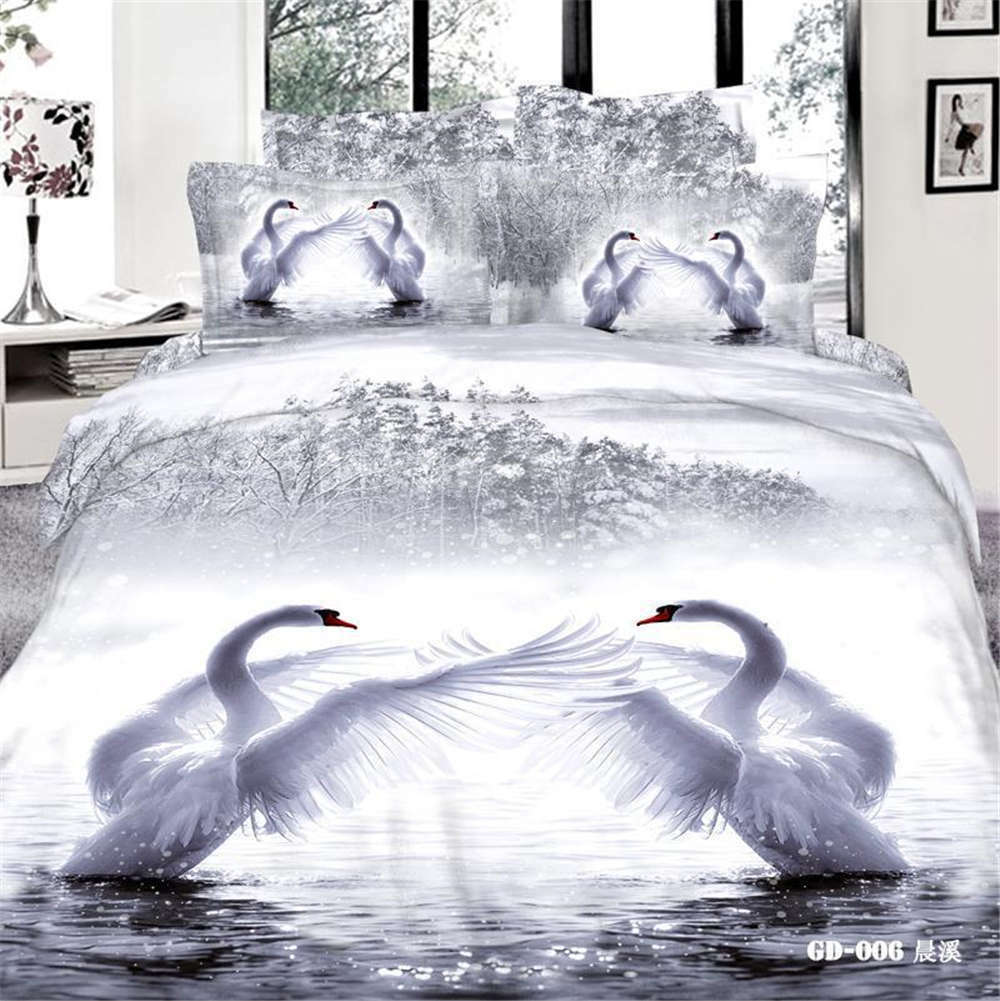 bianca Swans Flying 3D Printing Duvet Quilt Doona Covers Pillow Case Bedding Sets