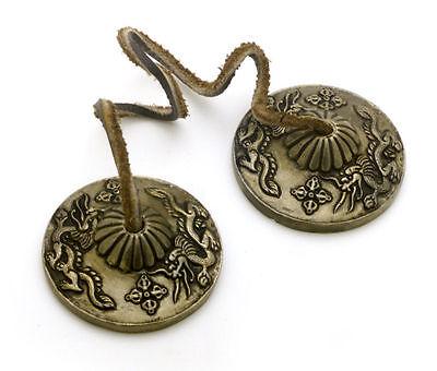 "Tingsha Cymbals Ting-sha Tingcha Dragon Meditation Bell Tibetan 2.5"" diameter"