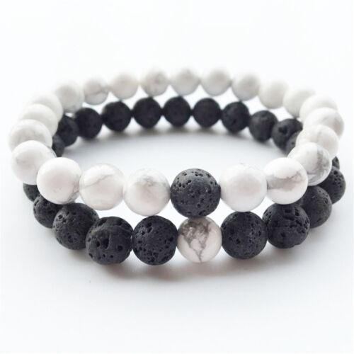 2pcs//Pack oeil de tigre Gemme /& Pierre Naturelle Noir 8 mm Perles distance Bracelet