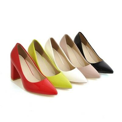 New Womens Patent Leather Pointed Toe Pumps Block High Heel Party Shoes Plus Sz