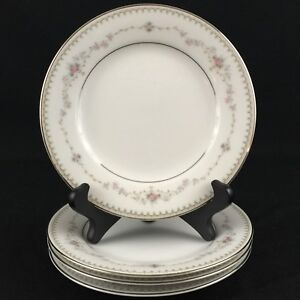 Set-of-4-VTG-Bread-Plates-6-1-4-034-Noritake-Fairmont-6102-Pink-Roses-Floral-Japan