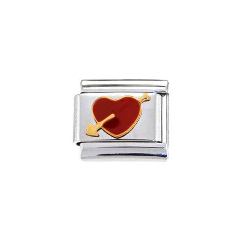 b fits 9mm classic Italian charm bracelets Red heart with arrow Italian Charm