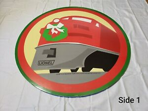 Lionel-Trains-Store-Display-Holiday-Fiberboard-Double-Sided-Sign-Huge-36-034-Around