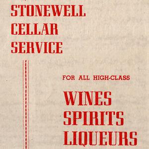 Vintage 1940s Stonewell Cellar Service Wines Spirits Liqueurs Menu Adelaide AU