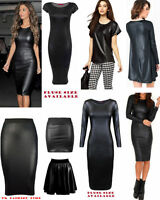 NEW WOMENS WETLOOK PVC SEXY MIDI DRESS MINI SKIRT TOP LEGGINGS PLUS SIZE 8-22