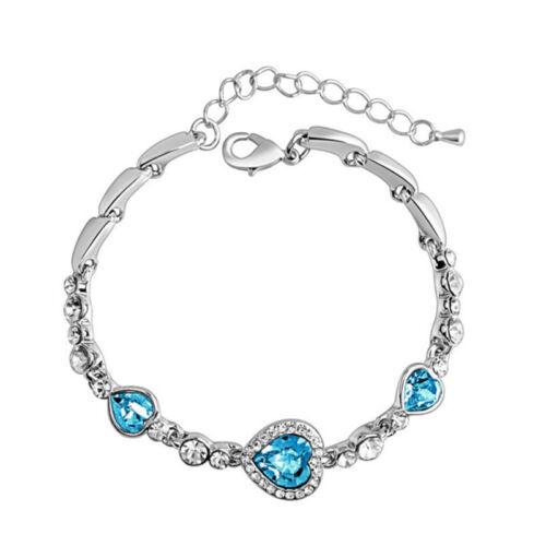 Fashion Women Crystal Silver Plated Charm Bracelet Bangle Girls Hot Gift Jewelry