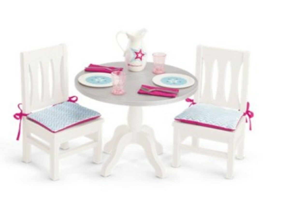 American Girl TM DINING TABLE AND CHAIRS (2017) for 18  Doll NEW Dinner Lunch