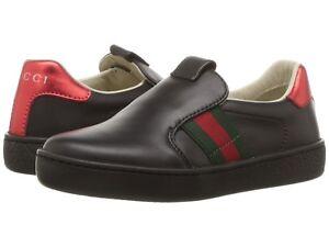 698be8e63 NIB NEW Gucci Ace kids boys girls black leather sneakers slip on 26 ...