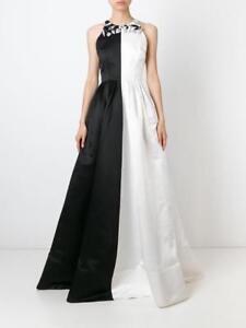 ALEX-PERRY-Women-039-s-Dress-rrp-2700-NEW-Black-amp-White-Silk-Gown-Size-AU-8-US-4